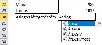 Excel függvény beszúrása