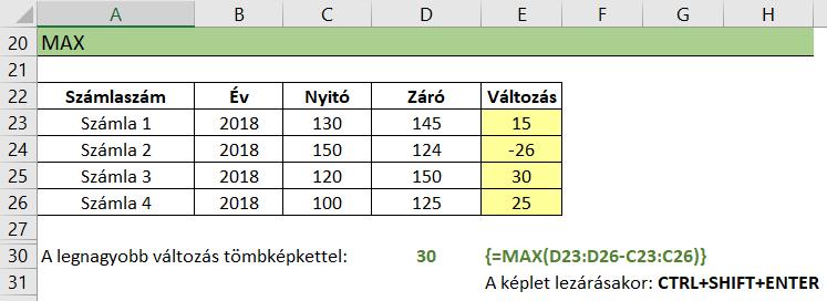 Tömbfüggvény maximum