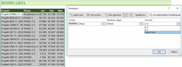 Egyéni lista Excel