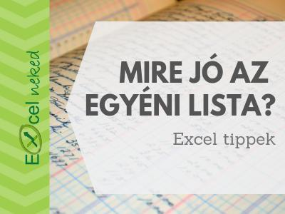 Excel egyéni lista