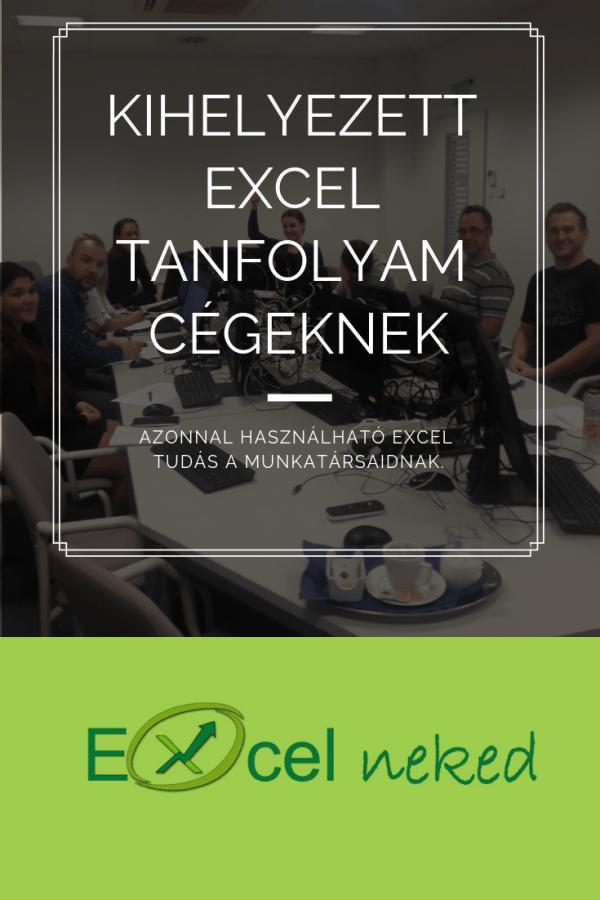 Kihelyezett Excel tanfolyam Cégeknek