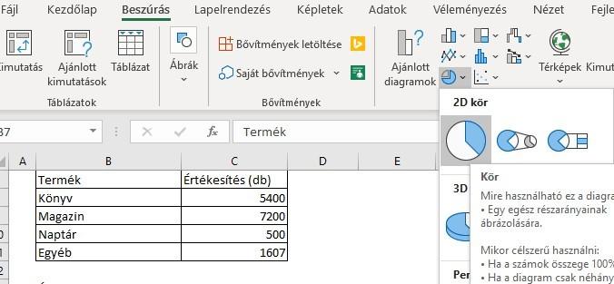 Kördiagram Excelben