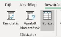 Excel táblázat beszúrása