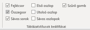 Excel táblázat összegsor