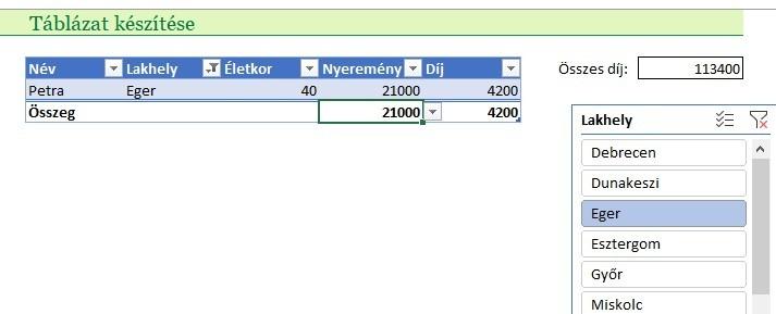 Excel táblázat részösszeg