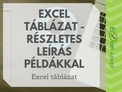 Excel táblázatok