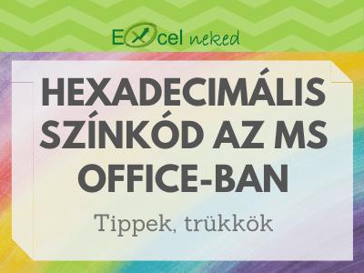 Hexadecimlis kód Excel-ben