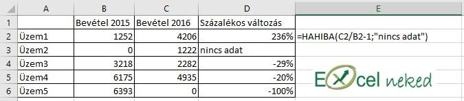 Excel függvények hahiba