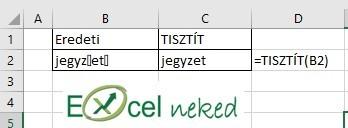 Excel függvények tisztít