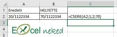 Excel függvények csere