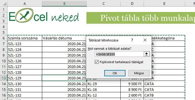 Táblázattá alakítás Power Pivot