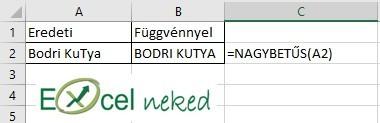 Excel függvények nagybetűs