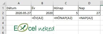 Excel függvénye év hónap nap