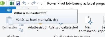 Power Pivot ablak váltás