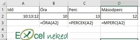 Excel függvények óra perc másodperc