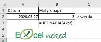 Excel függvények hét.napja