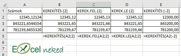 Excel függvények kerekítés