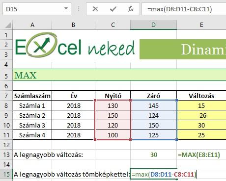 Dinamikus tömbök régebbi Excelben